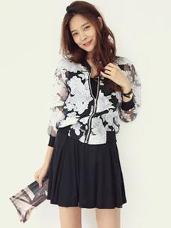 2014 Korean OL Women Coat Organza Sports Wear Loose Fit Floral Baseball Zipper Up Out Going Wear For Sale