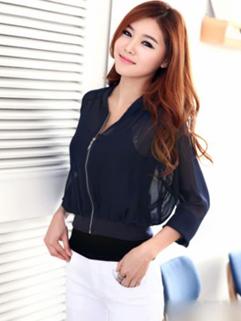 2014 Korean OL Women Short Coat Organza Sports Wear Loose Fit Floral Baseball Zipper Up Out Going Wear For Sale