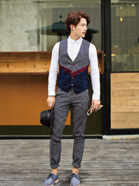 2014 British Gentleman Wear Vest Waistcoat And Pants Male Suits Color Block Striped Business Office Wear For Sale