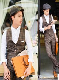 2014 British Gentleman Wear Vest Waistcoat And Pants Male Suits Plaid Color Business Office Wear For Sale