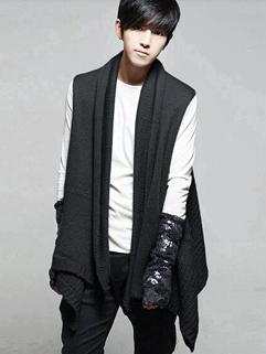2014 Korean Sweater And Scarf Bi-service Solid Color Lapel Sleeveless Cardigan Black Sweater