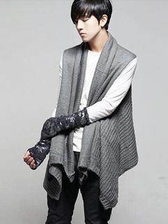 2014 Korean Sweater And Scarf Bi-service Solid Color Lapel Sleeveless Cardigan Dark Gray Sweater