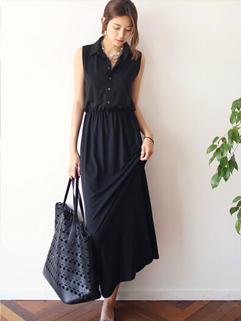 2014 New Collection Women Shirt Dress Black Pullover Pure Color Maxi Dresses OL Work Style Look Wear For Sale