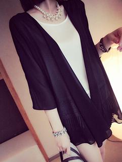 2014 Summer New Arrival Chiffon Coat Simplicity Elegant Pure Color Three-quarter Sleeve Women Daily Wear Coat