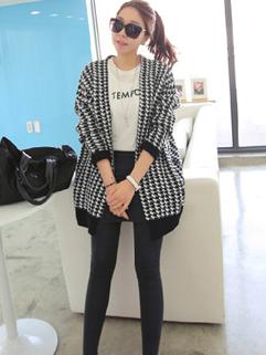 2014 High Quality Leisure Long Coat Plaid Woolen Long Sleeve Charming Slim Cut Women Sweater
