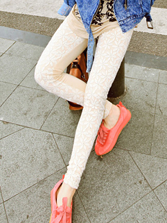 Fresh And Cute Leggings Skinny Lace Floral Pattern Long Leggings Apricot Street Style Leggings