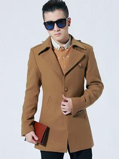 Korean Coats Pure Color Buttons Oblique Patch Pocket Long Sleeve Lapel Casual Khaki Coats M-XXL