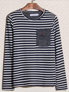 New Fashion 2014 Autumn Men Tee Cozy Smart Stripe Long Sleeve Round Collar Cotton Casual Tee Size M-XXL