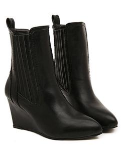 European 2014 Autumn Winter Wedge Boot Simple Chic Black Sharp Toe Women Casual Street Wear Short Boot