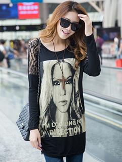 Korea Individual Top Women Pattern Long Bat Sleeve Lace Matching Top Black Maternity T-shirt