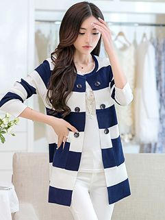 Cheapest Price Sweater Striped Long Sleeve Pockets Fitted Top MD-Long Woolen Dark Blue Sweater