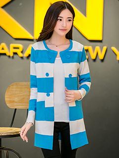 Korea Street Style Sweater Striped Long Sleeve Pockets Fitted Top MD-Long Woolen Light Blue Sweater