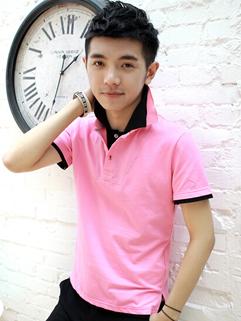 Top Popular Men Tee Turn Collar Fitted Slit Simple Top Cotton Business Men Pink Tee