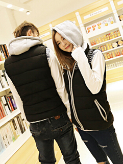 2014 Autumn Winter New Fashion Vest Fitted Adorable Color Block Hooded Neck Zipper Sleeveless Casual Couple Vest