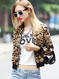 2014 Arrogance Style Coats Leopard Fitted Zipper Up Coats Short Cotton Baseball Coats
