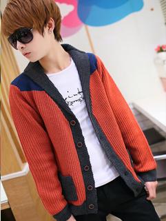 2014 Autumn New Sweater Color Block Lapel Cardigan Long Sleeve Red Sweater M-XXL