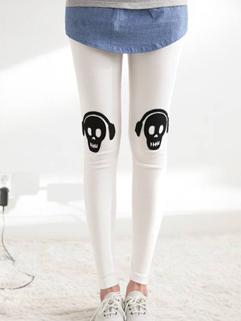 Korean Wholesale Women Leggings Slim Cut Skull Earphone Pattern Brand Style Printing For Sale