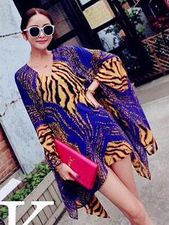 European 2014 Silk Dress Loose Long Bat Sleeve Leopard V-Neck Dress Street Style Blue Dress