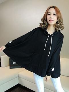Korea 2014 Autumn Newest Hoodies Loose Casual Hooded Neck Star Pattern Long Sleeve Black Women Daily Wear Hoodies