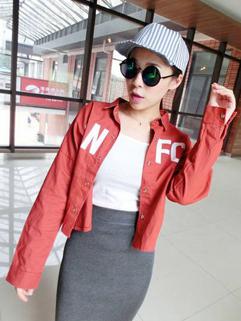 Korean Shirt Coat Sports Vintage Style Letter Printing Leisure Fashion Simple Design Female Wear