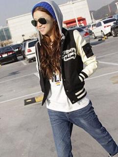 Korean Baseball Coat Hoodie Sports Vintage Style Letter Printing Leisure Fashion Simple Design Female Wear