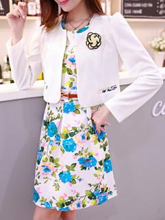 High Quality Women Dress Floral Pattern Long Sleeve High Waist Dress Cotton Dancing Party Blue Dress