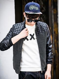 2014 Autumn Hot Selling Men Coat Fashion Casual Black Stand Collar Zipper Long Sleeve Daily Street Wear Coat M-XXXL