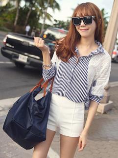 Korea 2014 Autumn New Fashion Blouse Pretty Chic Stripe Lace Splicing Batwing Sleeve Women Casual Wear Blouse