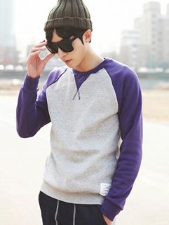 2014 New Fashion Men Hoodies Color Block Long Sleeve Round Collar Purple Casual Hoodies M-3XL