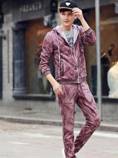 2014 Hottest Wholesale Active Wear Pure Color Long Sleeve Zip up Coats Drawstring Pants Purple M-3XL