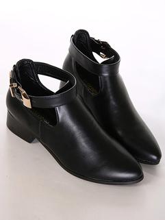 European 2014 Autumn Newest Boot Fashion Chic Black Metallic Buckle Sharp Toe Chunky Heel Women Casual Short Boot
