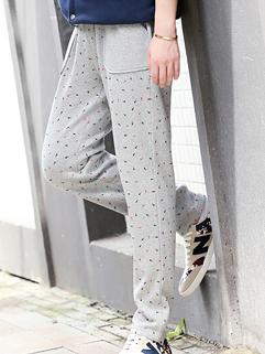 2014 Newest Straight Pants Drawstring Pockets Arrows Pattern Long Mid Waist Casual Light Gray Pants M-3XL