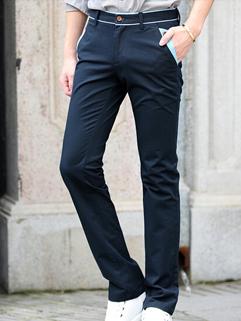 2014 Korean Fashion Pants Pure Color Zip Up Pockets Long Skinny Pants Mid Waist Casual Navy Blue Pants 28-34