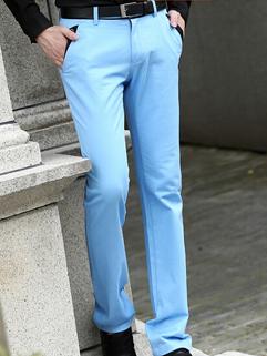 2014 Korean Fashion Pants Pure Color Zip Up Pockets Long Skinny Pants Mid Waist Casual Blue Pants 28-34