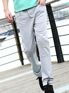 Korea Style Pants Fashion Design Ruffles Stripe Slim Cut Mid Waist Pockets Long Light Gray Pants M-XXL