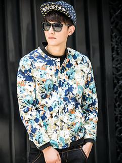 Wholesale Men Jacket Floral Printing Korean Style Winter And Autumn Leisure Wear For Sale M-XXXL