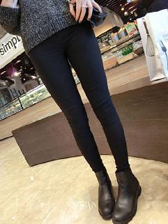 Korea Hot Selling Leggings Solid Color Skinny Full Pockets Pants 2 Colors Pencil Leggings