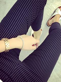 Cheapest Price Leggings Striped Full Skinny Color Block Pants Street Style Black Cotton Leggings