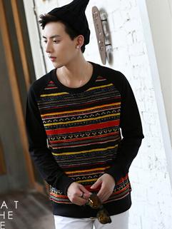 2014 Korean New Men Hoodies Color Block Long Sleeve Round Collar Yellow Casual Hoodies M-XXL