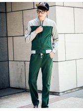 2014 Korean Casual Active Wear Color Block Long Sleeve Zip up Coats Drawstring Pants 2 Colors M-3XL