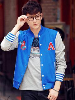 2014 Popular Versatile Cardigan Coats Color Block Buttons Long Sleeve Stand Collar Casual Blue Coats M-3XL