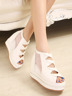 Korean Collection Elegant Peep Toe Wedge Pure Color Lace Meshl Work Occasion Wear 35-39 Work Sandals