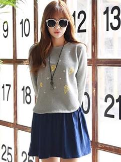 Autumn 2014 Two Pieces Dress Color Block Floral Pattern Long Sleeve Dress College Cotton Dress