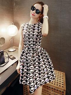 2014 Summer Dress High Waist Sleeveless Floral Pattern Dress Sweet 2 Colors Party Dress