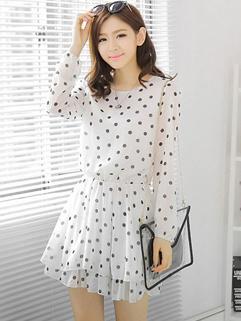 New Arrival Fashion Chiffon Dress Individual Dot Printed Long Sleeve White Women Daily Appointment Wear Dress