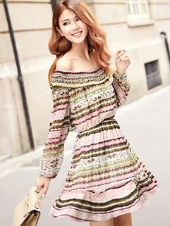 2014 Korea Hot Sale Sweet Dress Sexy Alluring Boat Neck Off Shoulder Asymmetrical Stripe Long Sleeve Women Dress S-L