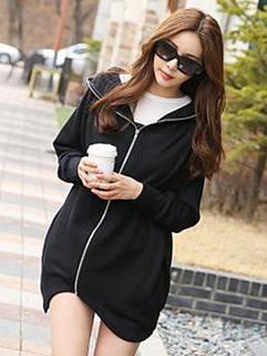 2014 Sporty Style Hoodies Long Sleeve Zipper Up Loose Pockets Top Street Style Black Hoodies