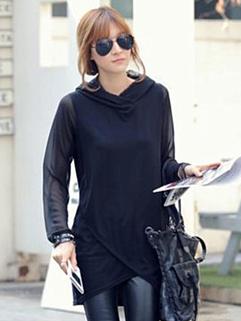 Top Popular Style Hoodies Lace Matching Hooded Asymmetric Top MD-Long Lycra Black Hoodies