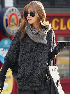 2014 Newest Winter Pullover Heavy Hair Collar Bat Sleeve Loose Top Casual Dark Gray Sweater