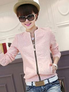Adorable Leisure Women Coat Lace Zipper Up M-XXL Charming Elegant Occasion Autumn Wear For Sale